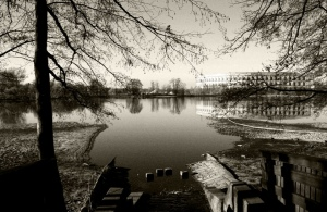 Picture of my hometown, with the view on the marks Hitler left on Nuernberg - what used to be his rally grounds is now a museum documenting his horror