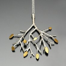 Sarah Hood Jewelry Sterling Silver Tree Pendant Necklace with 24k Gold Leaves