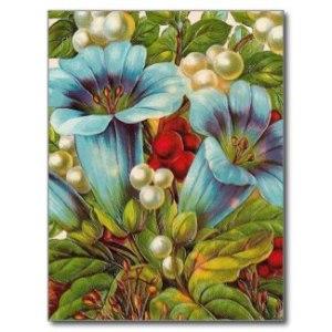 """""""Blue Floral"""" Vintage Postcard"""