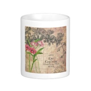 Vintage French Perfume Label Mug