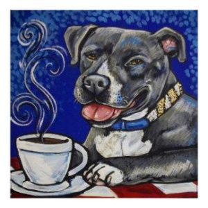 Dog drinking coffee poster