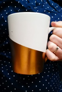 Gold Spray Painted Mugs